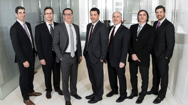 "Marathon's partners include (pictured, from left to right): Jamie Raboy (Chief Risk Officer), Louis Hanover (Chief Investment Officer), Bruce Richards (Chief Executive Officer), Andrew Rabinowitz (President & Chief Operating Officer), Andrew Springer (Co-Head of Structured Credit), Gabriel ""Gaby"" Szpigiel (Co-Head of Emerging Markets), Stuart Goldberg (Co-Head of Structured Credit)."